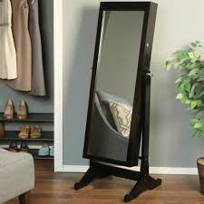 home living decorating luxury wooden standing mirror jewelry armoire in dark
