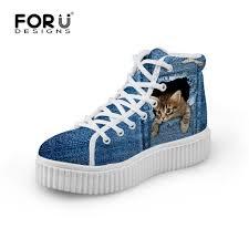 blue patterned shoes forudesigns stylish womens high top platform shoes cute pet cat blue