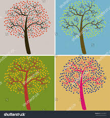 collection multi colored trees vector illustration stock vector