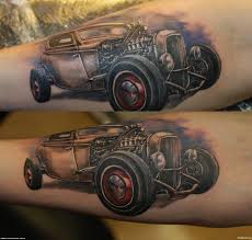 automotive tattoo sleeve classic black and grey car tattoo on leg by v tattoos