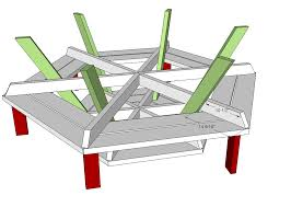 Plans For Picnic Table With Attached Benches by Ana White Hexagon Picnic Table Diy Projects