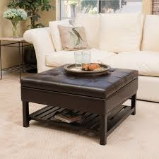 miriam wood square storage ottoman bench with bottom rack by
