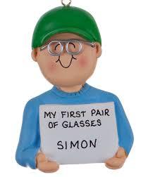 glasses boy personalized ornament