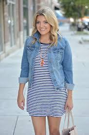 denim jacket striped tshirt dress by lauren m