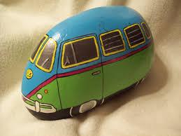 volkswagen bus painting teal green pink vw volkswagen bus pedres stones pinterest