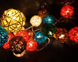 solar mixed colors rattan cane wood fairy lights 8 meters