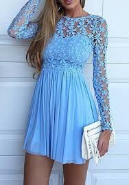 light blue long sleeve dress blue patchwork hollow out lace splicing round neck long sleeve mini