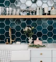 Blue Tile Backsplash Kitchen The Hex Tile Is So Stupid Amazing Loving The Peacock Blue Color