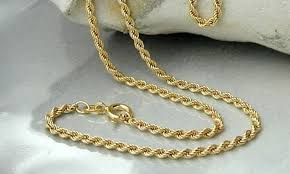 solid gold chain necklace images 18k solid gold rope chain necklace by sevil groupon jpg