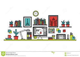 designer desk graphic designer desk line style illustration stock vector image