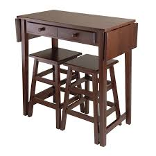 Space Saver Kitchen Table Amazon Com Winsome Mercer Double Drop Leaf Table With 2 Stools