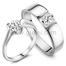 silver wedding ring custom name silver wedding ring sets for couples cubic zirconia