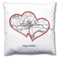 Heart Map Personalised Love Hearts Map Cushion From Love Maps On
