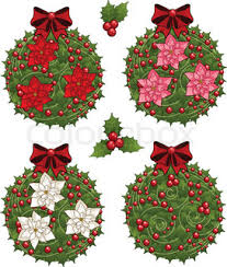 Mistletoe Decoration Christmas Wreath Of Mistletoe Stock Vector Colourbox