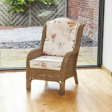 denver wicker reading chair with button back cushion