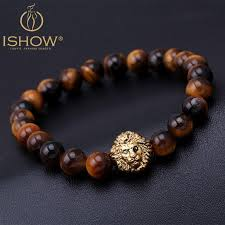 mens bracelet charms images Tiger eye lion head bracelet buddha beads bracelets bangles charm jpg