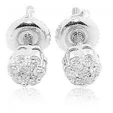 white gold studs 4cttw diamond earrings 14k white gold studs back flower