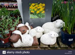 novelty garden ornaments in an garden centre stock photo