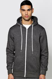 basic zip through hoodie boohoo