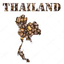 Blank Map Of The Word by Thailand Word And Country Map Shaped With Coffee Beans Background