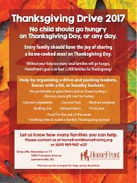 homefront s thanksgiving drive 2017 no child should be hungry on