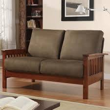 mission style living room furniture mission loveseat with olive microfiber homehills loveseats