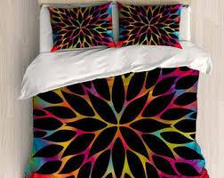 Black Floral Bedding Colorful Bedding Etsy