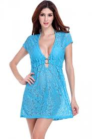 blue womens short sleeve lace see through cut out beach dress
