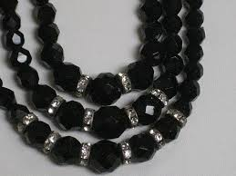 black crystal necklace images Vintage 3 strand laguna black cut crystal necklace with rhinestone jpg