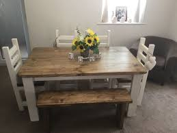 shabby chic rustic chunky dining table 4 chairs and bench set