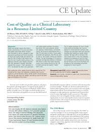cost of quality at a clinical laboratory in a resource limited