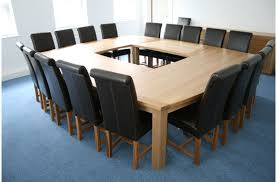 u shape cream wooden meeting room table with polished