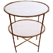 Glass Side Table Elegant Maison Bagues Two Tier Bronze And Milk Glass Side Table