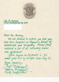 hogwarts acceptance letter with by platfrm9andthreeqrts on