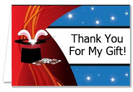 birthday party thank you cards magic thank you notes