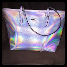holographic bags coach handbags hologram silver tote poshmark