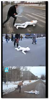 Chainsaw Meme - the russian meme with the mummy in the crosswalk and guy with a