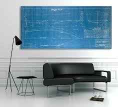 vintage 1940 v bottom fisherman boat blueprint design on canvas