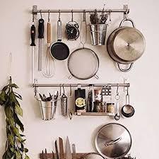 kitchen shelf storage ikea ikea stainless steel gourmet kitchen wall rail and 10 large s hooks set utensil pot pan lid rack storage organizer