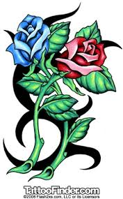 red and blue rose tattoo design ideas tattoomagz