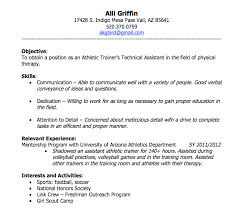 sports resume for college exles athletic resume template skills objective relevant experience