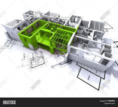 Green Plans by Apartment Highlighted In Green On A White Architecture Mockup On