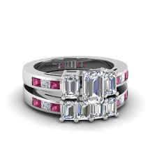 wedding rings sets emerald cut diamond wedding ring set with pink sapphire in 14k