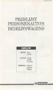 nissan sunny 1990 jdm banpei net nissan sunny n13 b12 dutch brochure from 1990