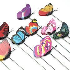 butterfly garden ornaments in a