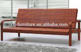Foldable Loveseat Kd Foldable Rattan Sofa Bed Loveseat Three Seat Synthetic Metal
