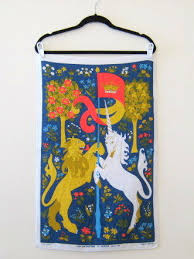 vintage lion and unicorn tea towel by ulster irish linen vintage