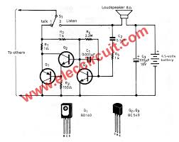 simple intercom circuit transistor eleccircuit com