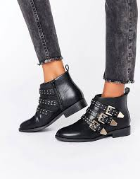 womens flat ankle boots uk charming faith brixton stud flat ankle boots black faith