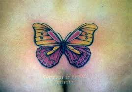 purple and yellow butterfly on lower back tattooimages